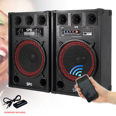 "2x 12"" Active USB/SD Party Speakers 800W + Bluetooth Music Receiver + Cables"