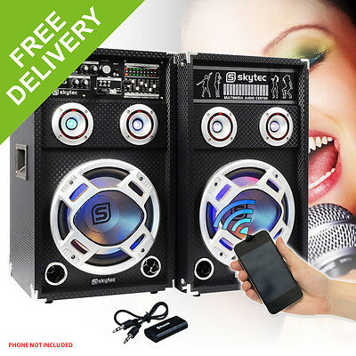 "2x Skytec 12"" Active Party Speakers 1200W + Bluetooth Music Receiver + Cables"