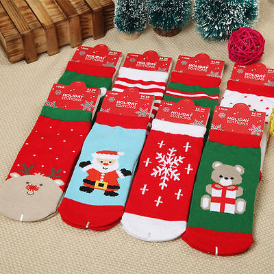 1 Pairs Soft Kids Boys Girls Cotton Christmas Socks for 1-3 Years Old Children