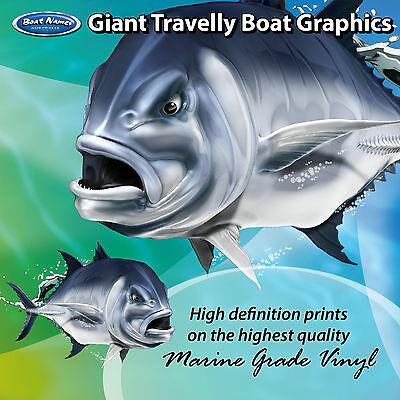 Sleek Giant Travelly Graphics - set of 250mm Fish Boat Graphics