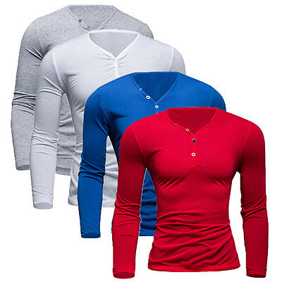 Mens Henley Shirts V Neck Slim Fit Cotton Long Sleeve Casual T-Shirt Top Tee