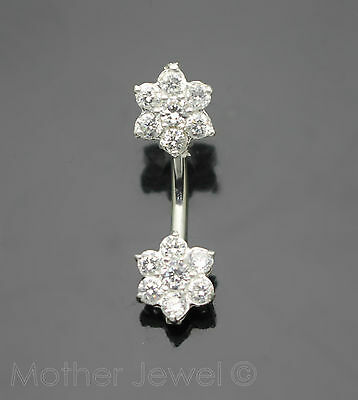 925 Sterling Silver Double 9Mm Twin Flower Cz 316L Surgical Steel Belly Bar Ring