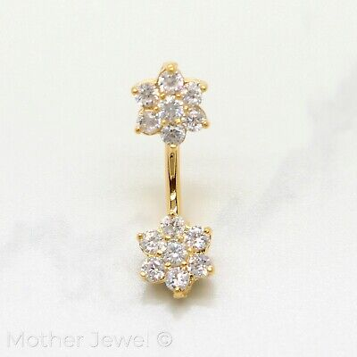 Yellow Gold Triple Plate 9Mm Twin Flower Cz 316L Surgical Steel Belly Bar Ring