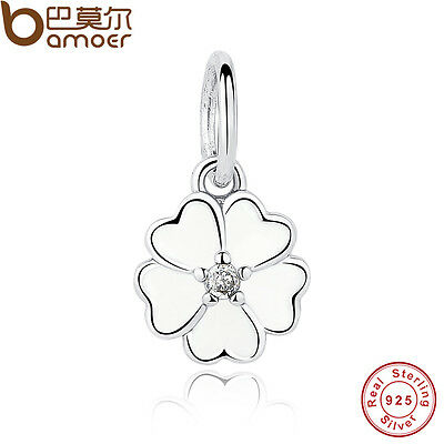 Authentic S925 Sterling Silver Primrose Pendant, White Enamel Charm Fit Bracelet