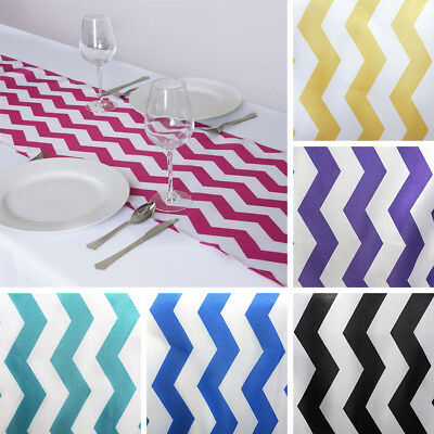 """12 pcs TABLE RUNNERS 12x108"""" CHEVRON SATIN Party Wedding Catering Linens Dinner"""