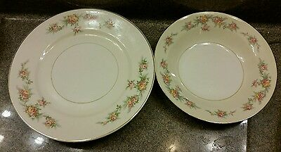 Homer Laughlin Eggshell Nautilus Darcy Gold Gilt Flat Soup Bowl 3 dinner plates