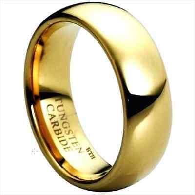 New Boxed Gold Gp Tungsten Carbide Mens Wedding Engagement Band Ring 8mm