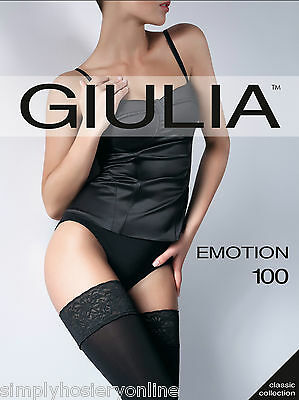 Giulia Emotion 100 Denier Opaque Luxury Lace Top Hold Ups Matte Black Only