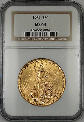1927 $20 Dollar St. Gaudens Double Eagle Gold Coin NGC MS-63 AMT (B)