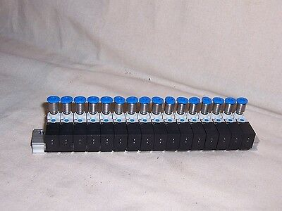 FESTO Manifold block with 16 valves 197017 fittings for tube 3