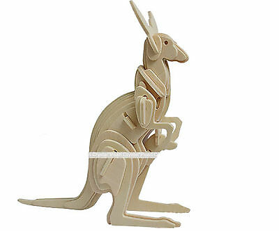 Kangaroo Horse Deer DIY 3D Jigsaw Realistic Wooden Model Kit Toy Puzzle Gift