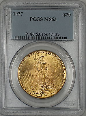 1927 $20 Dollar St. Gaudens Double Eagle Gold Coin PCGS MS-63 AMT (C)