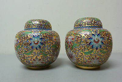 "Pair Chinese Cloisonne Enamel 5"" Lidded Open Work Ginger Jars, Gilt Background"
