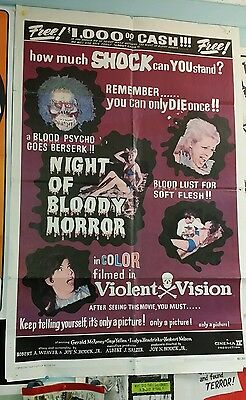 Night Of Bloody Horror 1 sheet b movie poster