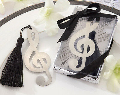 1x Fashion Music Note Alloy Bookmark With Ribbon Box As Gift