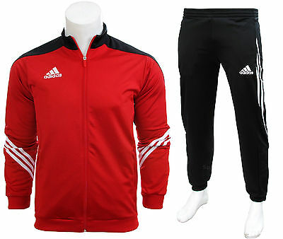 Adidas Full Mens Tracksuit Zip Jogging Top Bottoms 3 Stripe Red Size S - XXL