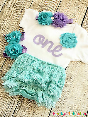 First Birthday Baby Girl Outfit Bodysuit Headband Cake Smash Lilac 1st Bloomers