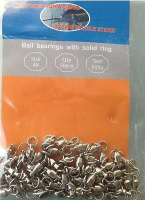 BALL BEARING SWIVELS with Solid Ring  : size #4  50 pack Nickle Plated