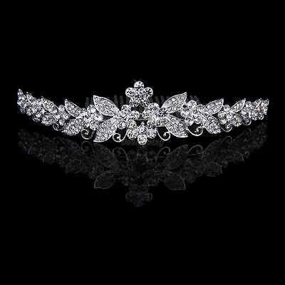 Bride Crystal Tiara Rhinestone Crown w/ Comb Pin for Wedding Party