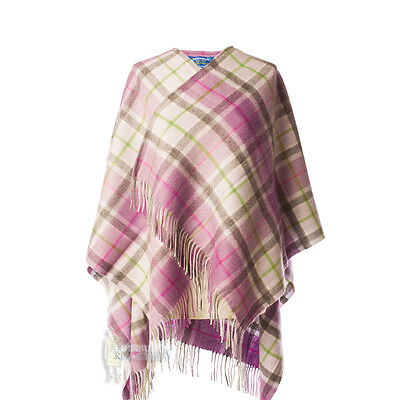 Edinburgh - Soft & Warm Lambswool Mini Or Girls Cape - Light Purple Check