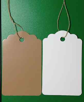 New 100 Scalloped KRAFT Print 1 X 1 5/8 Paper Merchandise Price Tags with String