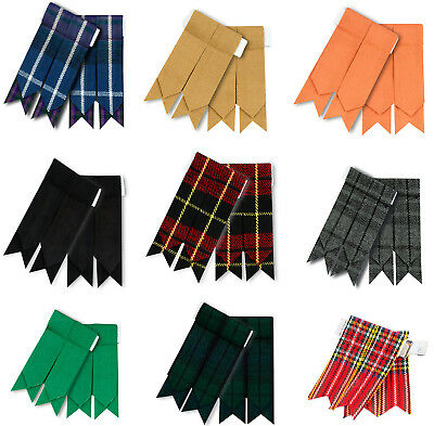 HM Highland Kilt Hose Sock Flashes Garter Flashes tartan Pattern
