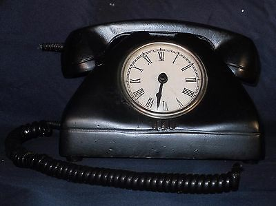 Clock in the Shape of a Vintage Black Desk Telephone, May/may not work