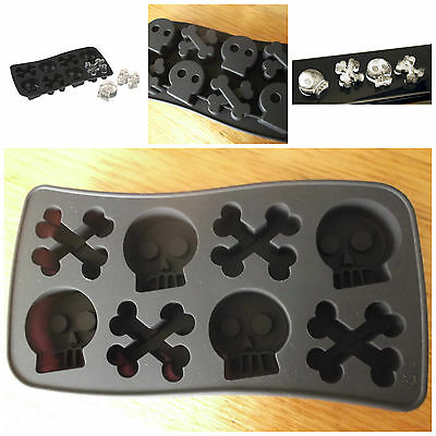 Halloween Skull & Crossbone Jelly Ice Chocolate Mold Mould Party Novelty Gothic