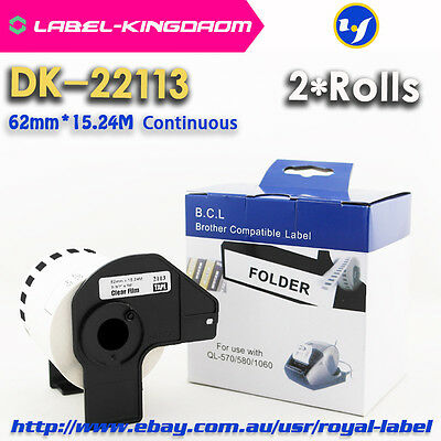 2 Rolls Brother Generic DK-22113 62mmX15.24Meter Film DK-2113 Continuous Label