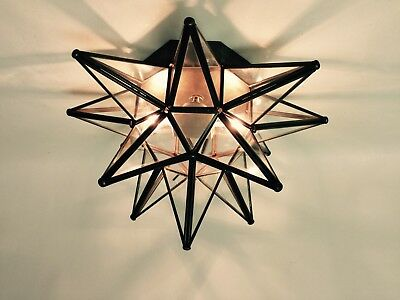 """Moravian Star Ceiling Light/Wall Sconce 15"""", Glass, Hand Crafted"""