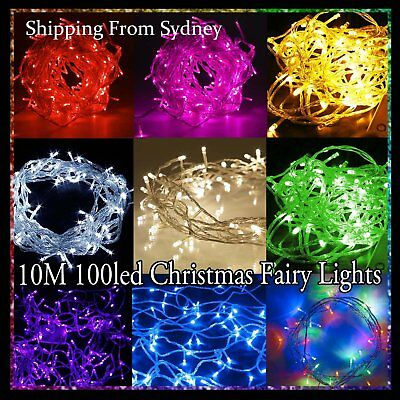 10m Fairy Lights Christmas single colour 100 LED String Decoration tree Party