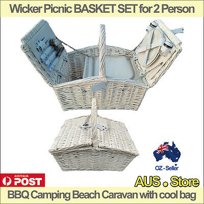 Wicker Picnic BASKET SET for 2 people, BBQ Camping Beach Caravan with cool bag