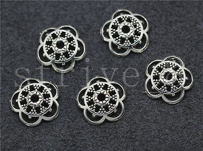 New 20/100/500pcs Antique Silver Flower Bead Caps Charms Beads Cap Craft 12mm