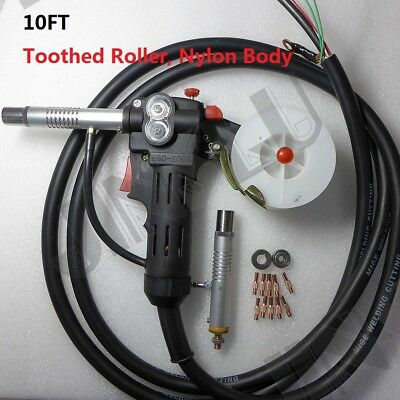 Toothed Roller Nylon Body 10 Feet MIG Spool Gun Wire Feed Aluminum Torch