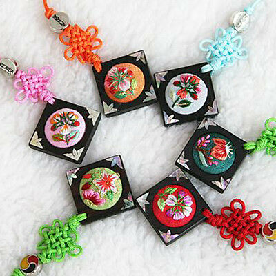 Lot of 12 Cell Phone Charm Strap Korean Embroidery Square Souvenirs Holiday Gift
