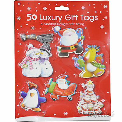 50 Luxury Gift Tags With String Novelty Christmas 6 Design Xmas Gifts Present
