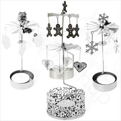 New Rotary Tea Light Candle Holder Metal Spinning Moving Shadows Carousel