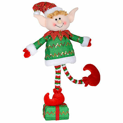 Elf Christmas Decoration - Green Xmas Figure Standing On Gift Box - 45cm Tall