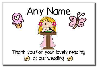 Thank You For Doing A Reading At Our Wedding Girl  Personalised Magnet