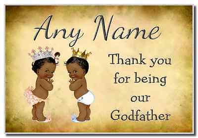 Vintage Baby Twin Black Girl & Boy Godfather Thank You  Personalised Magnet