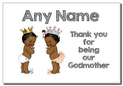 Baby Twin Black Boy & Girl Godmother Thank You  Personalised Magnet
