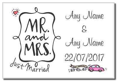 Mr and Mrs Just Married  Personalised Magnet