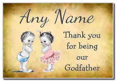 Vintage Baby Twin Boy & Girl Godfather Thank You  Personalised Magnet