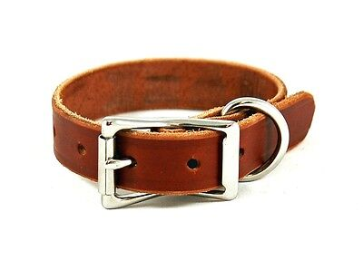 "Classic Leather Dog Collar Brown Brass Steel Handmade By Amish 1"" Wide Custom"