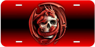 Red Dragon Skull Car Auto Tag Novelty License Plate