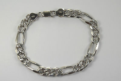 """925 Italy Sterling Silver 8mm Pave Figaro Bracelet 8"""""""