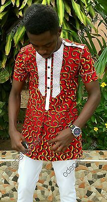 Odeneho Wear Men's Ankara Print Top/Polished Cotton Bottom. African Clothing.