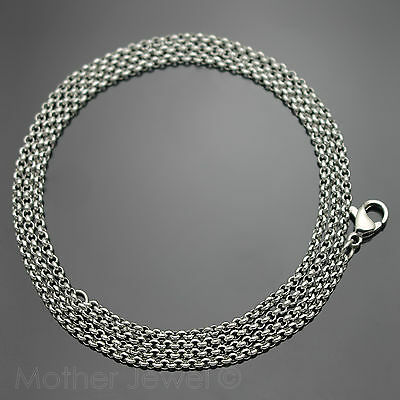 60Cm Silver 316L Stainless Steel 2Mm Rolo Chain Mens Womens Unisex Necklace
