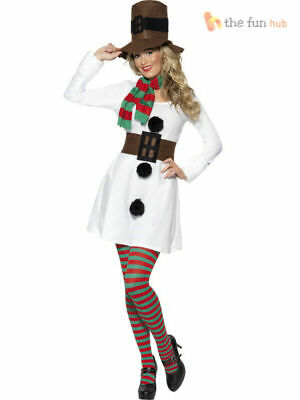 Size 8-18 Ladies Miss Snowman Fancy Dress Costume Womens Christmas Party Outfit