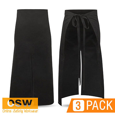3 X Hospitality/Grill/Bbq/Restaurant Continental Waist Tie Black Bistro Aprons